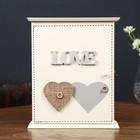 """Ключница дерево 6 крючков """"Два сердца с пуговкой. Love"""" белая 24х20х6,5 см"""