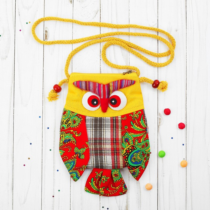 Мягкая сумочка «Совушка», лоскутная, 23 см, цвета МИКС