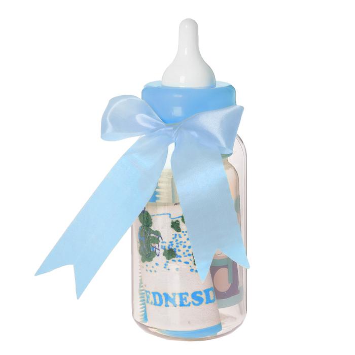 Набор детский «Первый подарок малышу», 6 предметов: бутылочка для кормления 125 мл, нагрудник, ёршик, прорезыватель, ложка, вилка, в подарочной упаковке