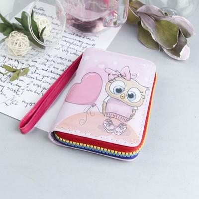 Кошелёк жен, 2 отдела, для карт, для монет, с ручкой, цвет розовый