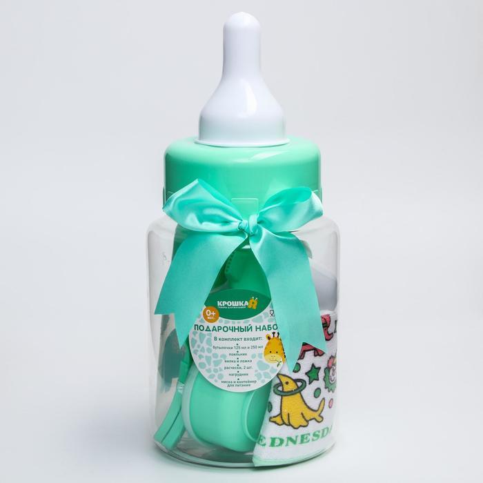 Набор детский «Первый подарок малышу», 10 предметов: бутылочки для кормления 150 и 250 мл, поильник, посуда, нагрудник, расчёска, щётка, цвет зелёный - фото 977811