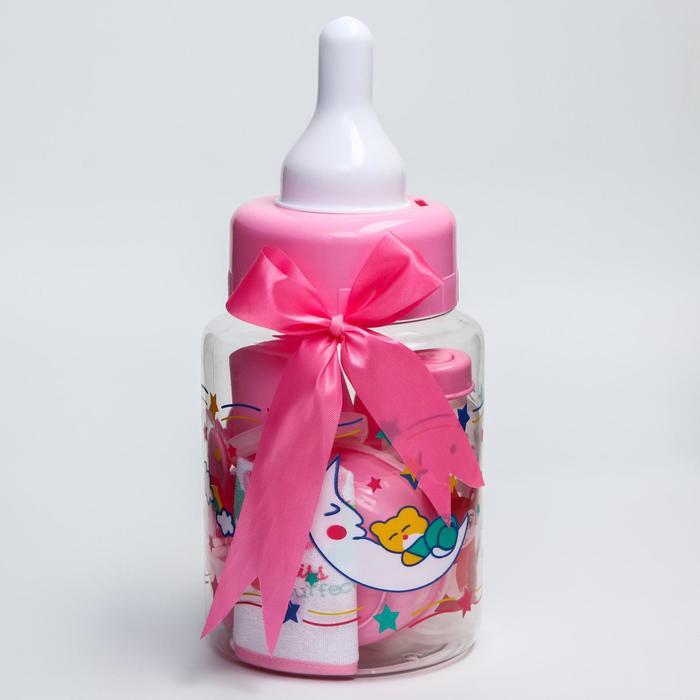 Набор детский «Первый подарок малышу», 10 предметов: бутылочки для кормления 150 и 250 мл, поильник, посуда, нагрудник, расчёска, щётка, цвет розовый - фото 105494385