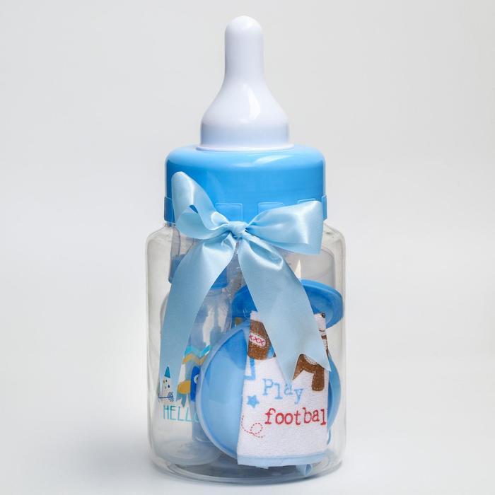 Набор детский «Первый подарок малышу», 10 предметов: бутылочка для кормления 250 мл, поильник, ёршики, посуда, нагрудник, погремушка, цвет голубой - фото 105494391