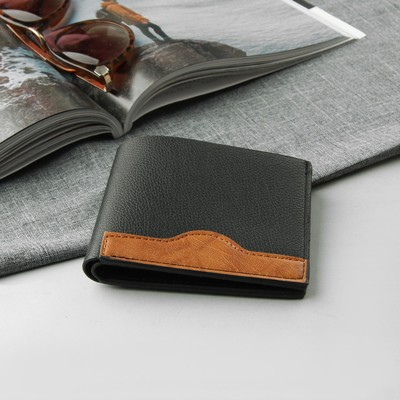 Purse male, 2 division, for cards, for coins, sim card, colour black