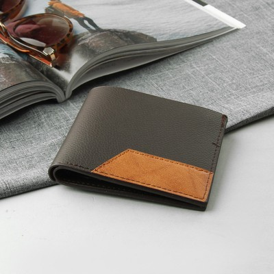 Purse male, 2 division, for cards, for coins, sim card, color brown