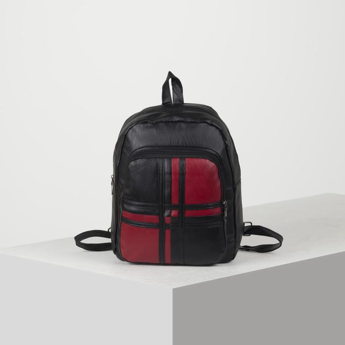 Рюкзак молодёжный, 2 отдела на молниях, цвет чёрный - фото 664603475