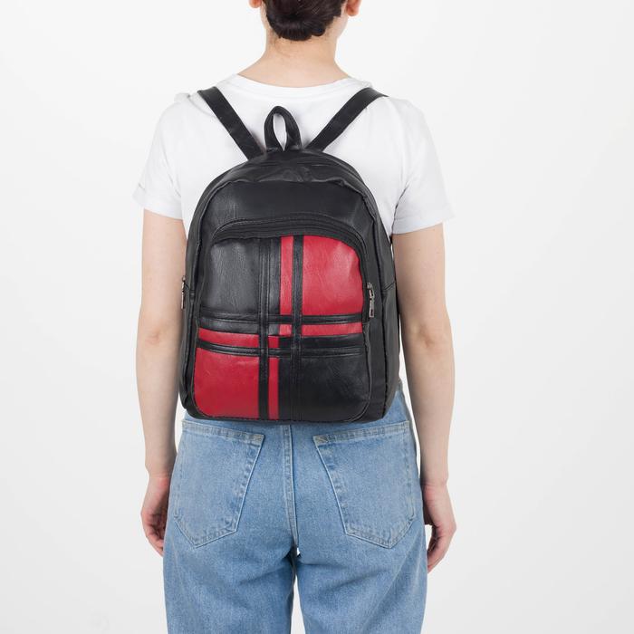 Рюкзак молодёжный, 2 отдела на молниях, цвет чёрный - фото 408729324