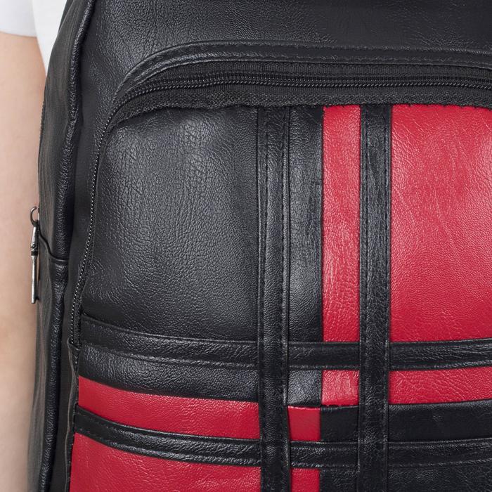 Рюкзак молодёжный, 2 отдела на молниях, цвет чёрный - фото 408729325