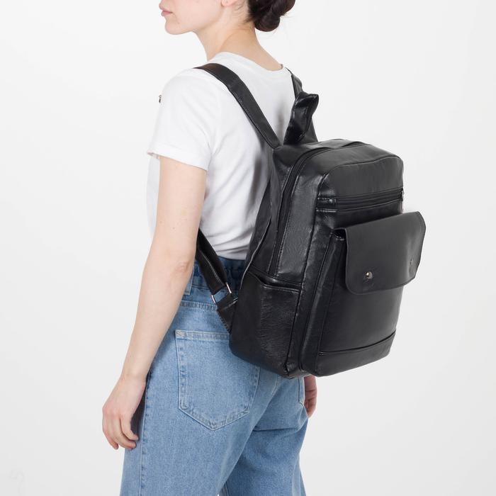 Рюкзак молодёжный, отдел на молнии, 4 наружных кармана, цвет чёрный - фото 448850141