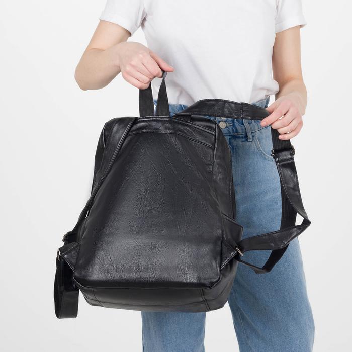 Рюкзак молодёжный, отдел на молнии, 4 наружных кармана, цвет чёрный - фото 448850144