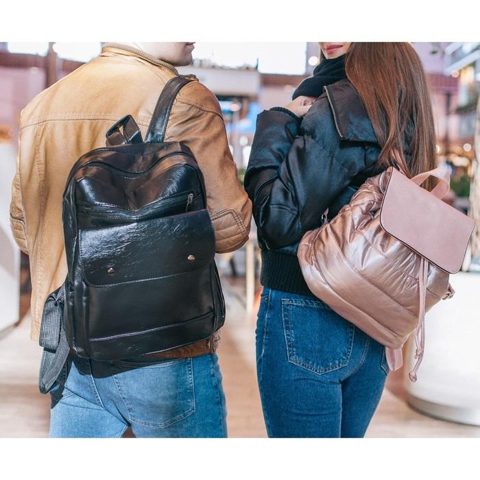 Рюкзак молодёжный, отдел на молнии, 4 наружных кармана, цвет чёрный - фото 448850146