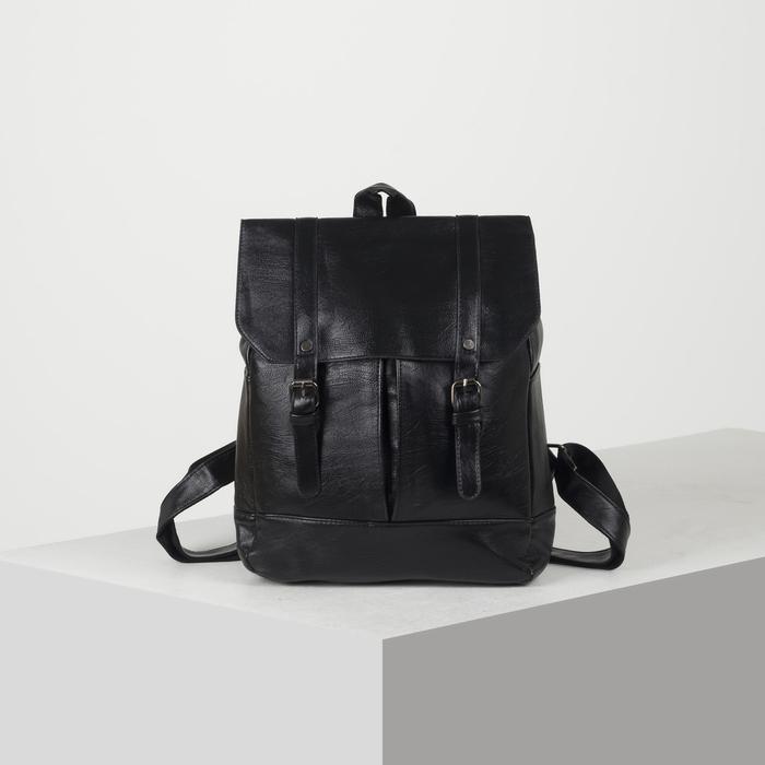 Рюкзак молодёжный, отдел на молнии, 4 наружных кармана, цвет чёрный - фото 448849747