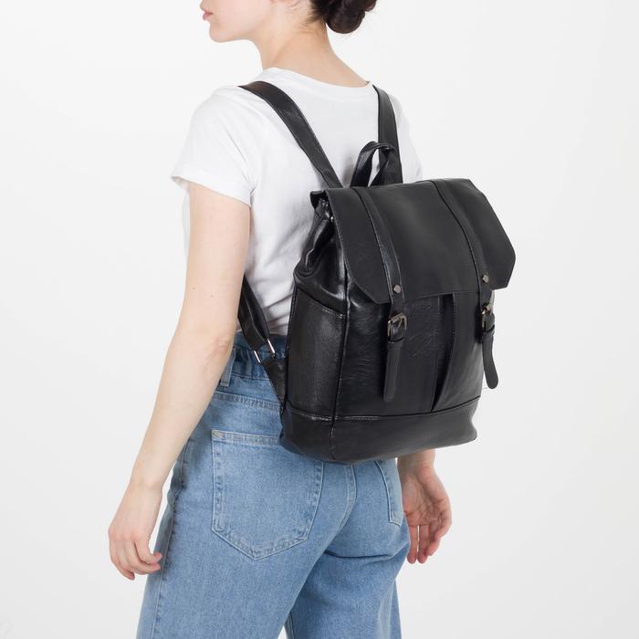 Рюкзак молодёжный, отдел на молнии, 4 наружных кармана, цвет чёрный - фото 448849748