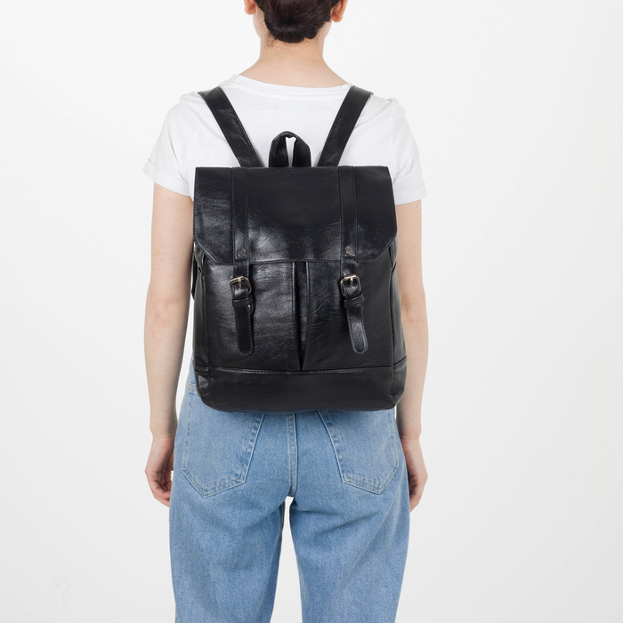 Рюкзак молодёжный, отдел на молнии, 4 наружных кармана, цвет чёрный - фото 448849749