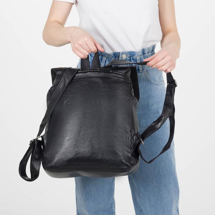 Рюкзак молодёжный, отдел на молнии, 4 наружных кармана, цвет чёрный - фото 448849751