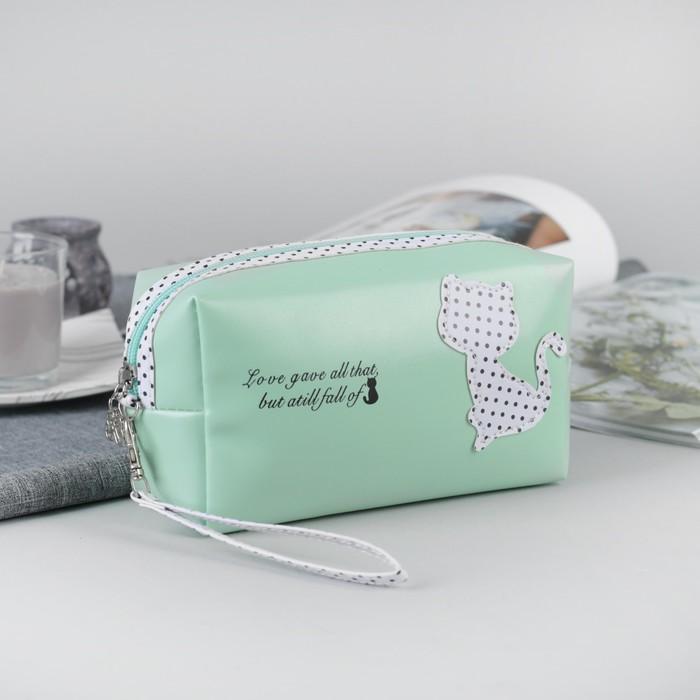 Косметичка-сумочка, отдел на молнии, с ручкой, цвет зелёный