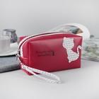 Косметичка-сумочка, отдел на молнии, ручка, цвет бордовый