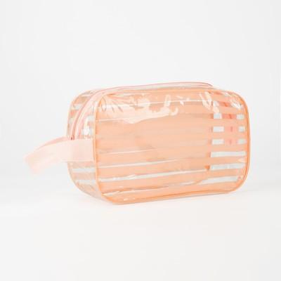 Косметичка ПВХ, отдел на молнии, с ручкой, цвет розовый