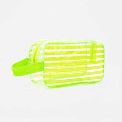 Косметичка банная «Полосатик», отдел на молнии, ручка, цвет зелёный