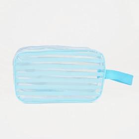 Косметичка ПВХ, отдел на молнии, с ручкой, цвет голубой - фото 1769724
