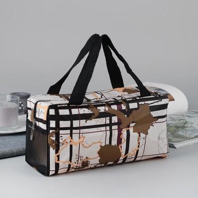 Косметичка-сумочка «Карта», отдел на молнии, ручки, цвет молочный