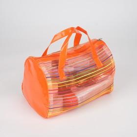 Косметичка ПВХ, отдел на молнии, 2 ручки, цвет оранжевый - фото 1769746