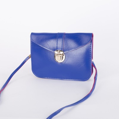 Bag for women, the division on the flap, long strap, color blue