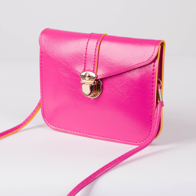 Bag for women, the division on the flap, long strap, color raspberry