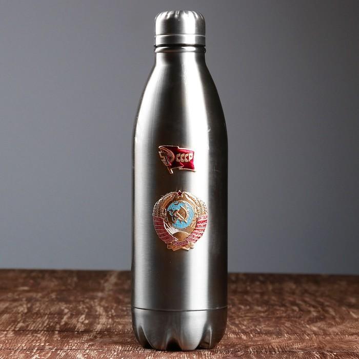 Термос 750 мл, бутылка, с узким горлом флаг СССР