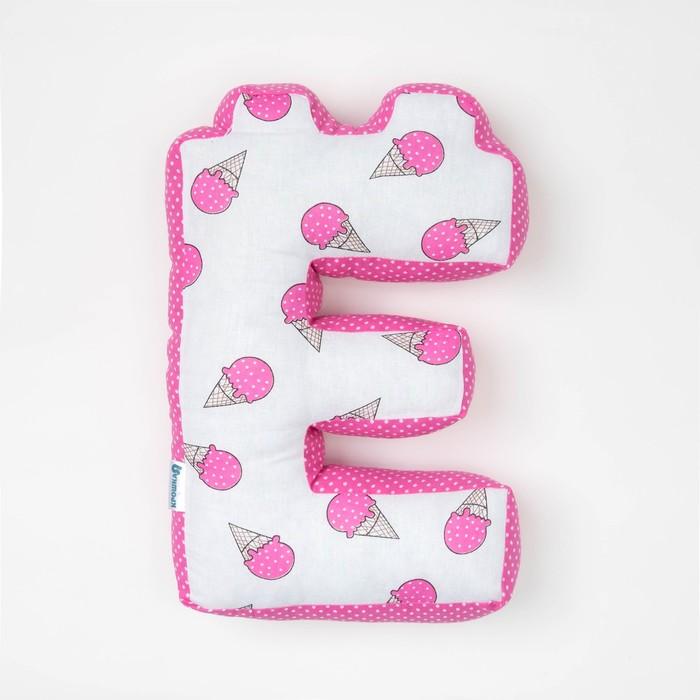 "Мягкая буква подушка ""Е"" 35х25 см, розовый, 100% хлопок, холлофайбер"