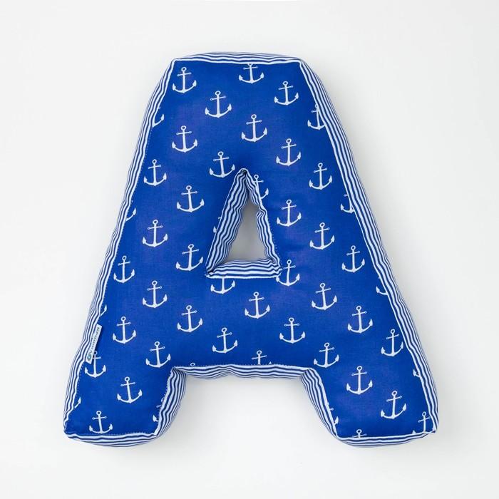 Мягкая буква-подушка «А», 35 × 34 см, цвет синий, 100 % хлопок, холлофайбер