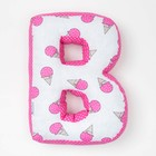 "Мягкая буква подушка ""В"" 35х28 см, розовый, 100% хлопок, холлофайбер"