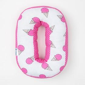 "Мягкая буква подушка ""О"" 35х24 см, розовый, 100% хлопок, холлофайбер"