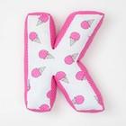"Мягкая буква подушка ""К"" 35х26 см, розовый, 100% хлопок, холлофайбер"
