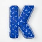 """Мягкая буква подушка """"К"""" 35х26 см, синий, 100% хлопок, холлофайбер"""