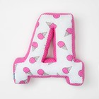 "Мягкая буква подушка ""Д"" 35х37 см, розовый, 100% хлопок, холлофайбер"