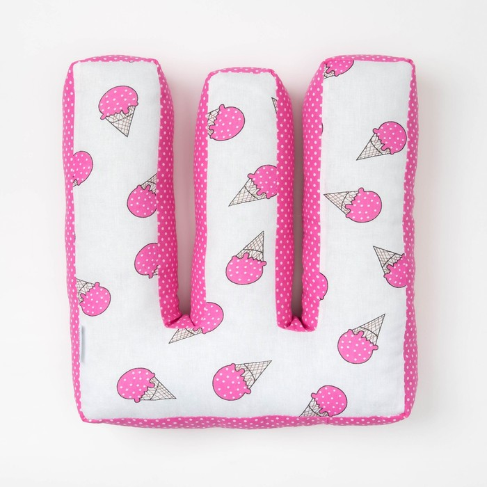 "Мягкая буква подушка ""Ш"" 35х22 см, розовый, 100% хлопок, холлофайбер"