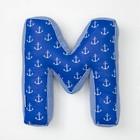 "Мягкая буква подушка ""М"" 35х32 см, синий, 100% хлопок, холлофайбер"