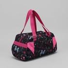 5903 Д Сумка спорт 38*23*20, 1 отд на молнии, н/карман, черный/розовые бабочки