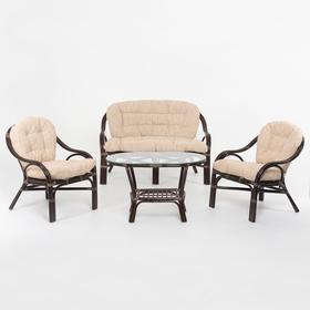 Набор мебели: диван, два кресла, стол, с подушкой, цвет тёмно-коньячный, 01/17