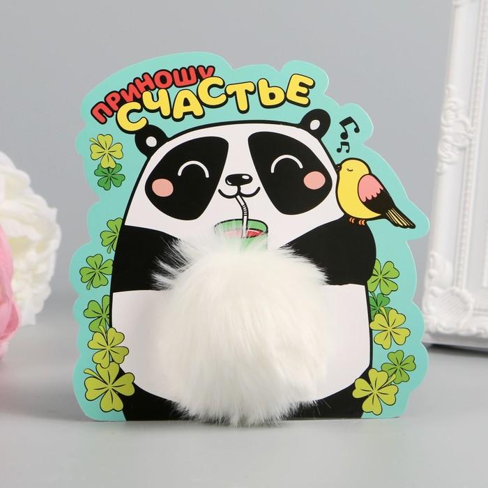 """Пушистик на кольце """"Счастливая панда"""" 8х8х8 см"""