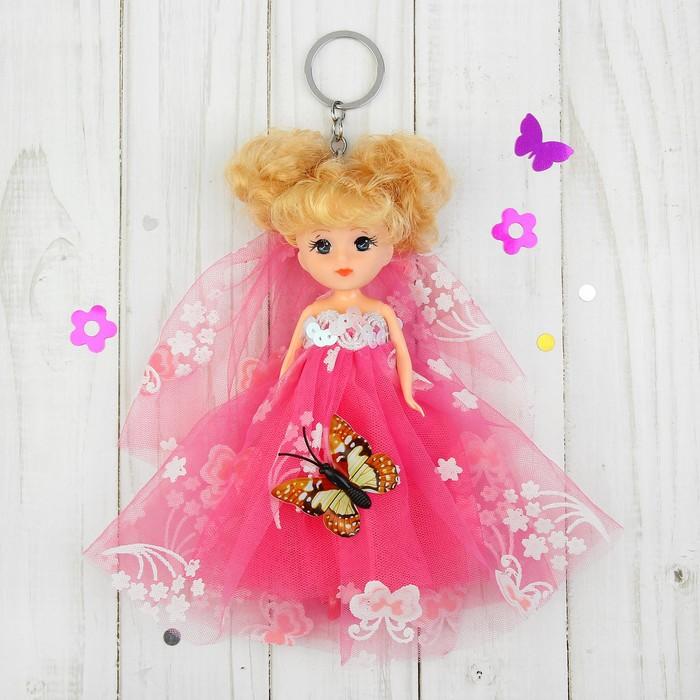 """Игрушка-брелок """"Кукла"""" на голове фата, на платье бабочка, цвета МИКС"""
