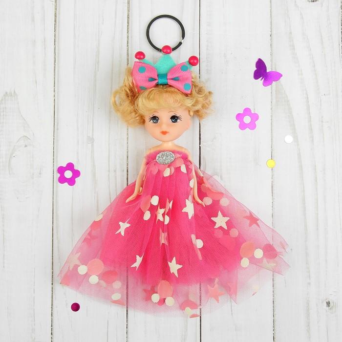 """Игрушка-брелок """"Кукла"""" на голове корона и бант, цвета МИКС"""