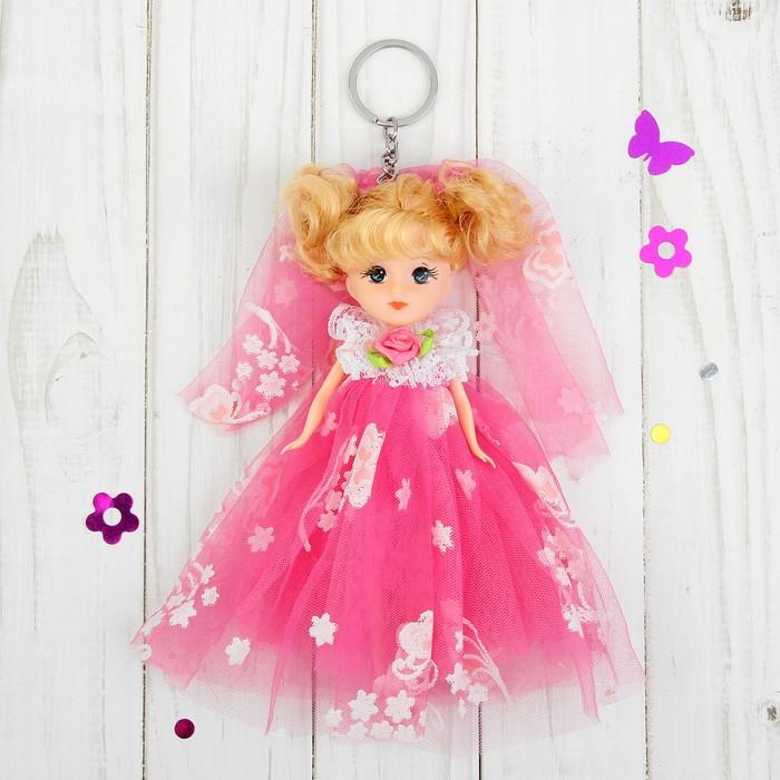 """Игрушка-брелок """"Кукла"""" с розой на платье, цвета МИКС"""