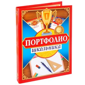 Папка на кольцах «Портфолио школьника», 16 листов, 24,5 х 32 см