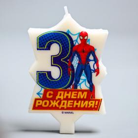 Свеча в торт 3 'С Днем Рождения', Человек-паук, 5 х 8 см Ош
