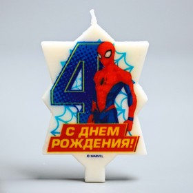 Свеча в торт 4 'С Днем Рождения', Человек-паук, 5.1 х 8 см Ош