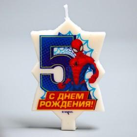 Свеча в торт 5 'С Днем Рождения', Человек-паук, 5 х 7.7 см Ош