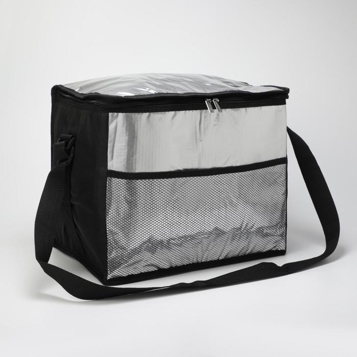 Сумка-термо дорожная, отдел на молнии, наружный карман, регулируемый ремень, цвет чёрный