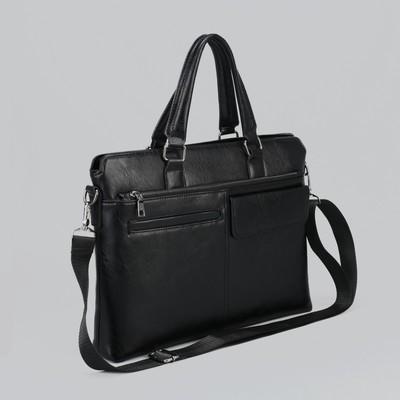 Сумка мужская, отдел на молнии, отдел для планшета, 4 наружных кармана, регулируемый ремень, цвет чёрный